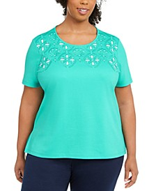 Plus Size Miami Beach Embellished Eyelet Top