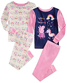 Toddler Girls 4-Pc. Cotton Pajamas Set