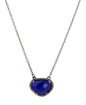 Organic Cut Lapis and Diamond Necklace