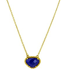 Organic Cut Lapis and Diamond Necklace