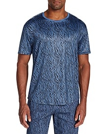 Men's Slim-Fit Stretch Zebra Print Short Sleeve T-Shirt