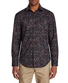 Men's Slim-Fit Performance Stretch Ornate Floral Long Sleeve Shirt