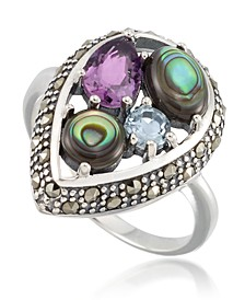 Marcasite and Amethyst (1-1/4 ct. tw.), Abalone (9/10 ct. t.w.) and Blue topaz (1/4 ct. t.w.) Teardrop Ring in Sterling Silver