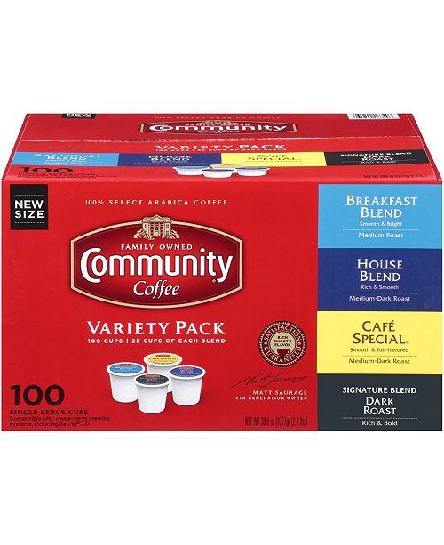 Community Coffee Variety Pack, Medium to Dark Roast Single Serve Pods, Keurig K-Cup Brewer Compatible, Pack of 100