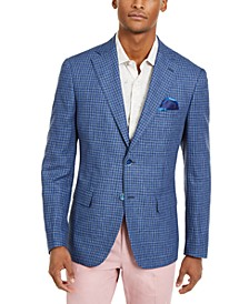 Orange Men's Slim-Fit Navy/Light Blue Check Sport Coat