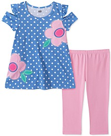 Toddler Girls 2-Pc. Flower Dot Top & Leggings Set