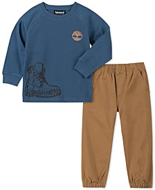 Little Boys 2-Pc. Thermal-Knit Logo T-Shirt & Twill Joggers Set
