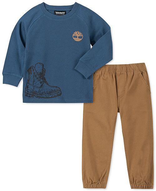 Timberland Little Boys 2-Pc. Thermal-Knit Logo T-Shirt & Twill Joggers Set