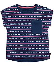 Toddler Girls Cotton Logo Striped T-Shirt
