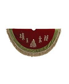 50-Inch Burgundy Ribbon Trees Tree skirt with Green Tassel Border