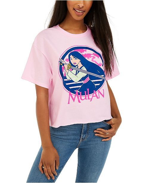 Mad Engine Disney Juniors' Mulan Cropped Graphic T-Shirt by Mad Engine