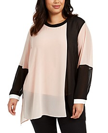 Plus Size Colorblocked Blouse