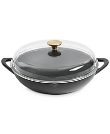 "Pre-Seasoned Cast Iron 12.25"" Everyday Pan with Glass Lid"
