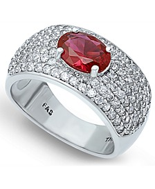 Cubic Zirconia Pavé Band Ring with Red CZ Oval Center Prong Stone in Fine Silver Plate
