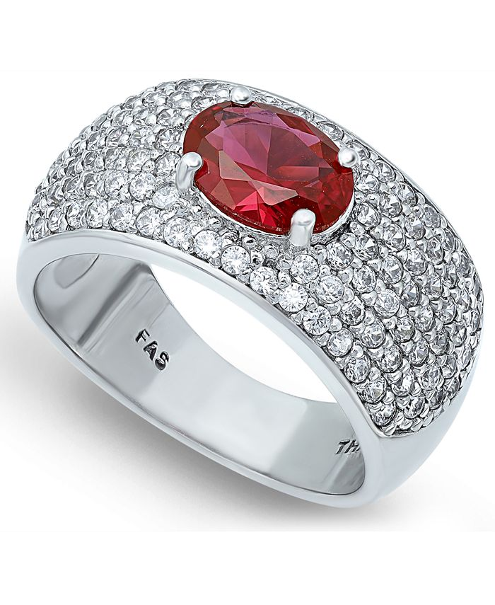 Macy's - Cubic Zirconia Pavé Band Ring with Red CZ Oval Center Prong Stone in Fine Silver Plate