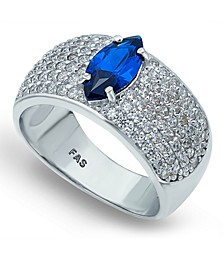 Cubic Zirconia Pavé Band Ring with Blue CZ Marquise Center Prong Stone in Fine Silver Plate