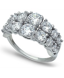 Cubic Zirconia 2 Row Round Prong Set Stones Ring in Fine Silver Plate