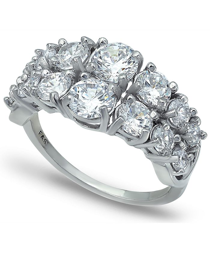 Macy's - Cubic Zirconia 2 Row Round Prong Set Stones Ring in Fine Silver Plate
