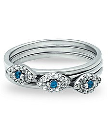 Cubic Zirconia Evil Eye Trio Stack Ring in Fine Silver Plate