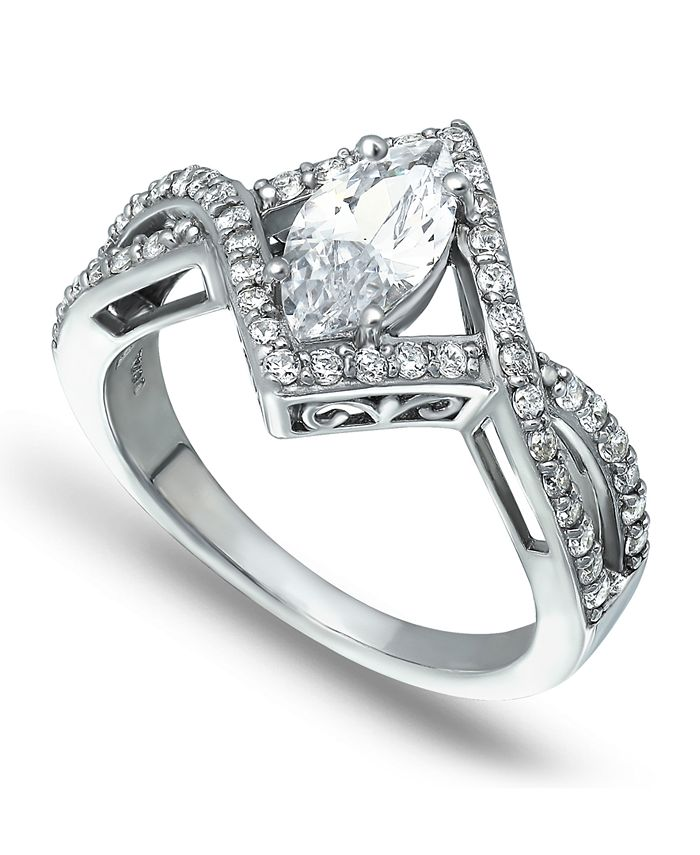 Macy's - Cubic Zirconia Marquise Center Stone Split Shank Ring in Fine Silver Plate