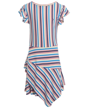 Vintage Style Children's Clothing: Girls, Boys, Baby, Toddler Tommy Hilfiger Little Girls Asymmetrical Striped Dress $34.00 AT vintagedancer.com