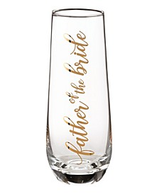 Father of Bride Stemless Champagne Glass and Wedding Toasting Glass