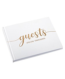Minimalist Simple Elegant Chic Wedding Registry Guestbook with Gold-Tone Writing