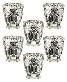 Metallic Cut Glass Votive or Tea Light Candle Holders Set of 6