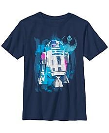Star Wars Big Boys R2-D2 Paint Splatter Rebel Logo B1 Short Sleeve T-Shirt