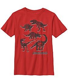 Jurassic World Two Big Boy's Distressed Dinosaur Silhouette Logo Short Sleeve T-Shirt