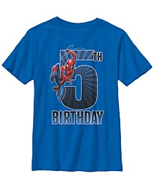 Marvel Big Boy's Spider-Man Swinging 5Th Birthday Short Sleeve T-Shirt