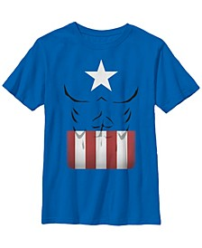 Marvel Big Boy's Captain America Simple Suit Short Sleeve T-Shirt