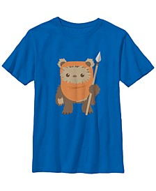 Star Wars Big Boy's Wicket Ewok Chibi Kawaii Cute Short Sleeve T-Shirt