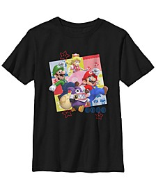 Nintendo Big Boy's Super Mario Character Panel Collage Short Sleeve T-Shirt