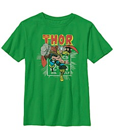 Marvel Big Boy's Mighty Thor Hammer Throw Retro Short Sleeve T-Shirt
