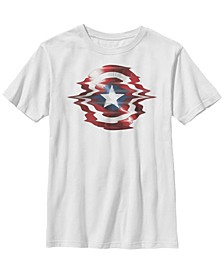 Marvel Big Boy's Captain America Shield Glitch Short Sleeve T-Shirt