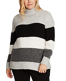 Plus Size Striped Turtleneck Sweater