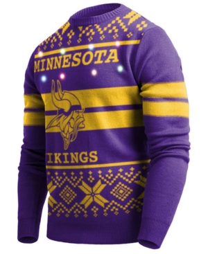 Men's Minnesota Vikings Two Stripe Big Logo Lightup Sweater
