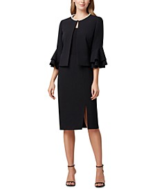 Pearl-Trim Ruffled-Sleeve Jacket, Georgette Tank Top & Crepe Pencil Skirt