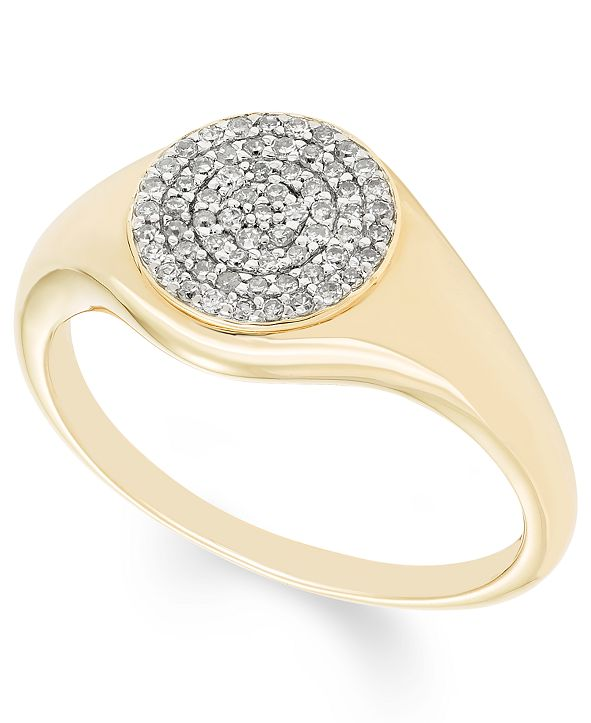 Macy's Diamond (1/5 ct. t.w.) Pave Signet Ring in 14k Yellow or Rose Gold