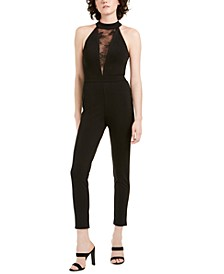 Juniors' Lace-Inset Jumpsuit