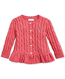 Baby Girls Cable-Knit Peplum Top
