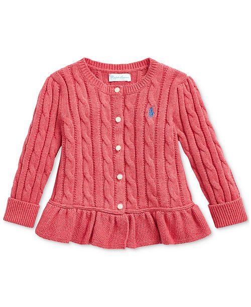 Polo Ralph Lauren Baby Girls Cable-Knit Peplum Top