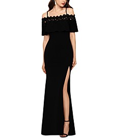 Lace-Trim Off-The-Shoulder Gown