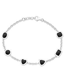 Multi-Shaped Black Onyx (6mm & 7 x 5 mm) Bracelet in Sterling Silver