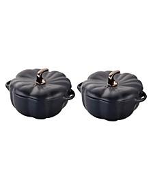 Ceramic 2-Pc. 16-oz Petite Pumpkin Cocotte Set