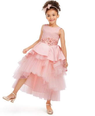 Little Girls Satin & Tulle Tiered Gown