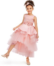 Toddler Girls Satin & Tulle Tiered Gown