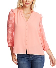 Mixed-Media Ruffled Top