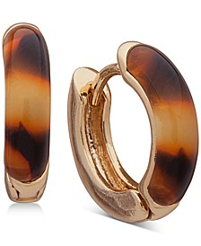 Gold-Tone Small Tortoise-Look Huggie Hoop Earrings, 0.6""